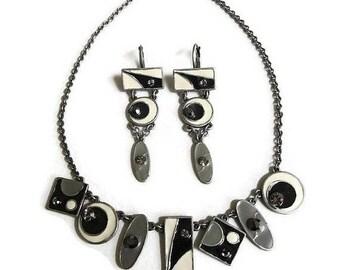 Modernist Enamel & Rhinestone Necklace and Earrings Set Vintage Geometric Abstract