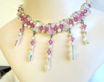 Art Deco Pink & Aurora Borealis Crystal Beads Dangle Bib Necklace Vintage with Faux Pearls