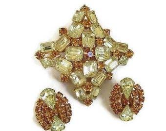 SALE Citrine & Golden Topaz Rhinestone Brooch and Earrings Set Vintage