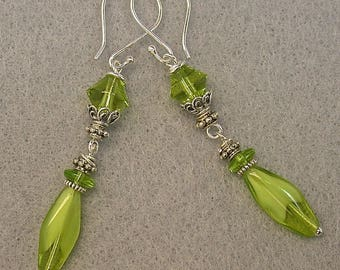 Vintage Givre Lime Green Glass Bead Dangle Earrings,German Lime Green Glass, Bali Sterling Silver Bead Caps, Bali Sterling Silver Ear Wires