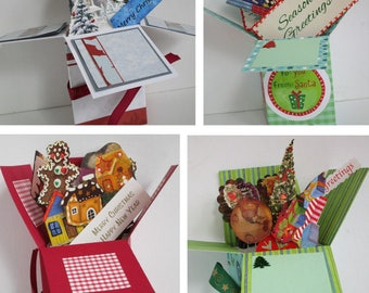 Christmas Holiday  pop up exploding box card- 2 variations- - Free Shipping in USA