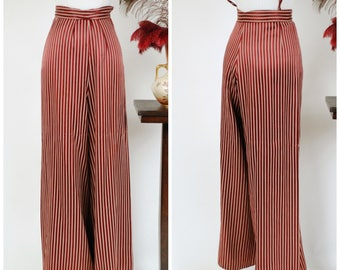 Vintage 1940s Pants - BEST Heavy Satin High Waist 40s Wide Slacks in Burgundy and Ivory Stripes