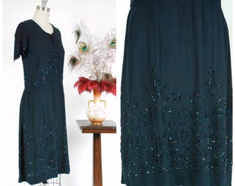 Vintage 1920s Dress - Rich Navy Blue Silk Beaded 20s Dress with Elegant Club Suit Motif in Carvival Glass Beading