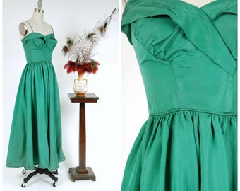 Vintage 1950s Dress - Gorgeous Emma Domb Emerald Green Taffeta Evening Gown with Surplice Neckline