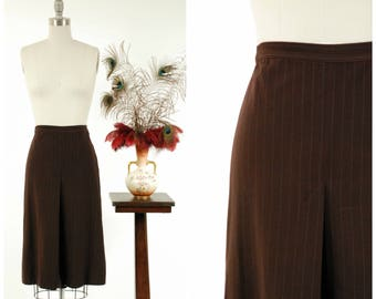 1940s Vintage Skirt - Chocolate Brown Pinstriped Wool 40s Skirt with Deep Box Pleats