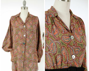 Vintage 1930s Lounge Jacket - Flowing Paisley Print Cold Rayon 30s Pajama Top