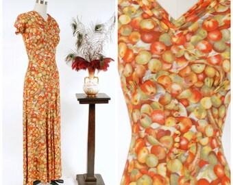 Vintage 1930s Dress - Autumn 2017 Lookbook - The Golden Delblush Gown - Amazing Unique Apple Novelty Print 30s Silk Evening Dress