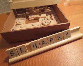 99 Scrabble tiles Miniature Wooden Game Pieces Letters / PLUS 4 wooden trays / Alphabet Jewelry Supplies