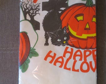 Vintage 90s Paper Tablecloth / Halloween Crepe Tablecloth / retro halloween tablecloth / Black cat pumpkin / Unused tablecloth / 54 x 96""
