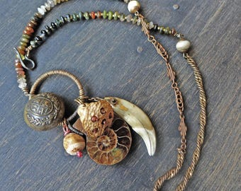 """Handmade cluster necklace with ammonite- """"Phyllotaxis"""""""