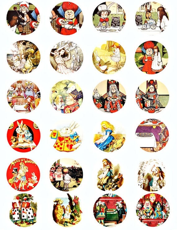 Alice In Wonderland Vintage art illustrations digital download collage sheet  images graphics art 1.5 INCH circles scrapbooking crafts
