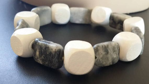 gemstone gray white stone wood beaded bracelet stretch bead jewelry chunky boho hippy handmade