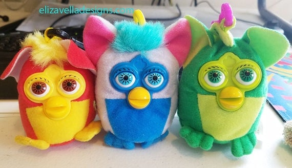FURBY plush KEYCHAINS Backpack Clip Ons lot of 3 2000 fast food stuffed toys