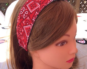 Red bandana print headband, child or adult headband, reversible cotton head wrap, newborn baby toddler woman, photo prop, girl party favors