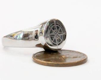 Compass Rose Urn Ring Cremation Urn Nautical Ring Memorial Ash Keepsake 2081