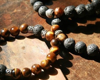 Casual Lava Stone, Tiger's Eye and Silver Mala Style Bracelet for Men