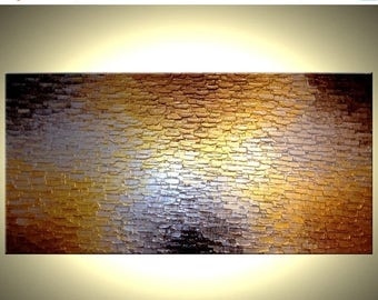 Gold Palette Knife Painting, Heavy Texture, Original Abstract Art, Reflective Metallic Bronze Large Painting - 24X48 - Lafferty Art - 2'x4'