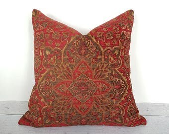 Brick Red Southwestern Pillow Covers, Rustic Lodge Pillow, Rust Red Cabin Style Pillow, Red Gold Green Textured Pillow, 18x18 20x20 NEW