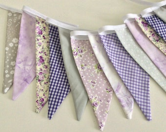 Purple Bunting - Fabric Garland Banner, with pretty florals, Photo Prop, Room Decoration