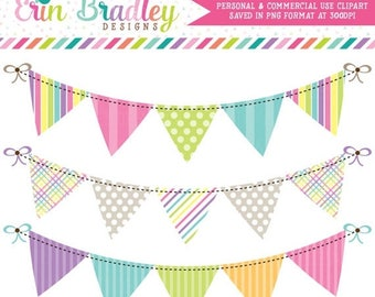 50% OFF SALE Springtime Bunting Banner Flag Clipart Clip Art Set Personal & Commercial Use