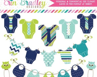 50% OFF SALE Baby Boy Clipart Commercial Use Baby Tees Bunting Bibs and Clothespins Clip Art Graphics Set  Instant Download