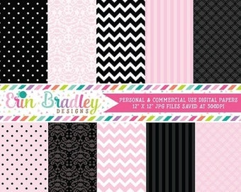50% OFF SALE Pink and Black Digital Papers Set Printable Papers Personal & Commercial Use Instant Download
