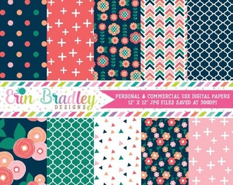 80% OFF SALE Spring Bloom Digital Paper Pack Commercial Use Digital Scrapbook Paper with Flowers Triangles Crosses Herringbone and Polka Dot