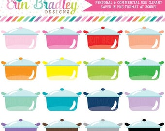 80% OFF SALE Cooking Pots Clipart Personal & Commercial Use Kitchen or Dinner Clip Art Graphics