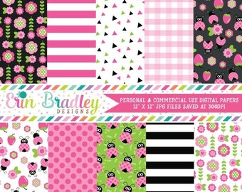 80% OFF SALE Ladybug Digital Paper Pack with Pink Green & Black Floral and Striped Patterns