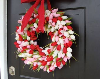 SUMMER WREATH SALE Valentine's Day Wreath- Valentine's Day Decor- Valentine Decoration- Tulip Wreath