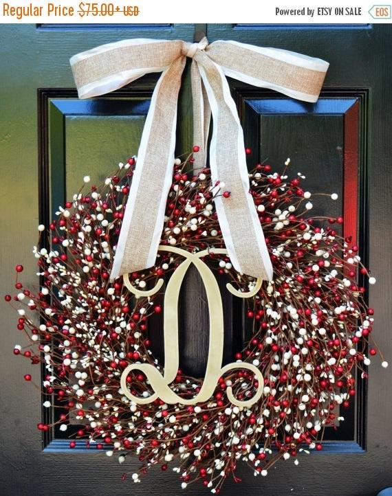 SUMMER WREATH SALE Fall Berry Wreath- Door Wreath- Fall Wreath- Wedding Wreath- Valentine's Day Wreath- Christmas Wreath- Red and Cream Fall