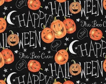 HALLOWEEN FABRIC,  The Boo Crew Halloween Pumpkins by Springs Creative 43-44 inch cotton
