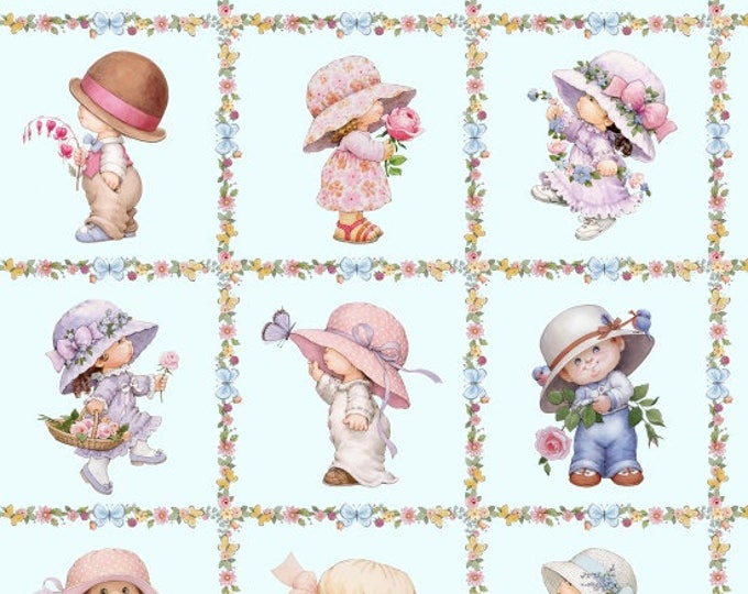 SUNBONNET EMMA and Friends, Children's Cotton Panel 24 x 44 by Elizabeth Studio