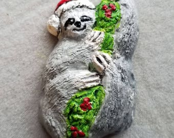 Sloth Santa ceramic ornament created by Nicole in 2017, free personalizing