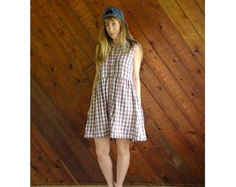 20% off SUMMER SALE. . . Americana Plaid Cotton Gauze Babydoll Dress - Vintage 90s - SMALL
