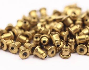 Earring Back Stopper, 50 Raw Brass Earring Back Stopper, Earnest (6x5mm) ( A0321 )