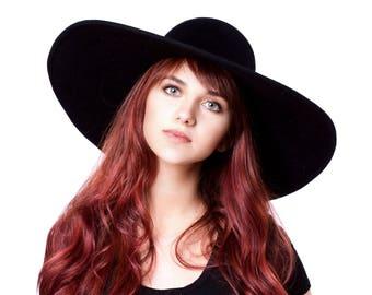 Wide Brimmed Hat Black Hat Floppy Hat Picture Hat 6 Inch Brim Boho Hat Hippie Chic Festival Fall Fashion Floppy Felt Hat Cashmere Hat