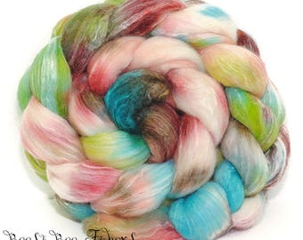 SECRET LAND - Seawool Merino Seacell Wool Roving Hand Dyed Combed Top Spinning Felting Weaving