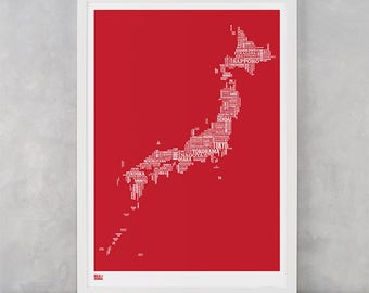 Japan Type Map Screen Print, Japan Word Map, Japan Typographic Map, Japan Font Map, Japan Artwork, Japan Wall Poster, Japan Wall Art Print