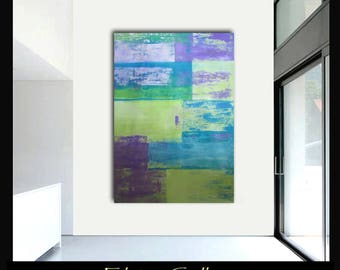 Extra large 60x45 original abstract painting on canvas by Elsisy  Turquoise, lime, lavender.  Free US shipping