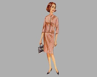 1962 Suit pattern, Butterick 2258, Bust 34, box pleat skirt, Collarless jacket, UNCUT pattern, two piece outfit, 3 quarter sleeve jacket