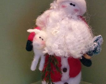 Father Christmas with Lamb 4 Inch Felted Wool Ornament - NEW for 2017