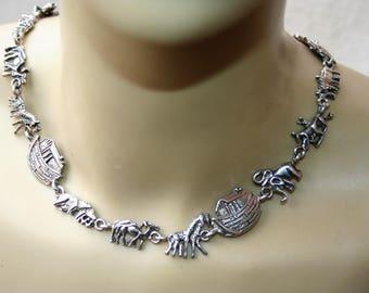 SALE  ...Vintage Necklace /Chocker 925  sterling silver  Noahs  Ark  ,Very Elegant  ,Just  Stunning