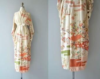 Hana No Nami silk kimono | vintage 1950s kimono | floral silk 50s kimono furisode