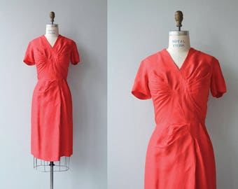 Only Hearts dress | vintage 1950s dress | red silk 50s dress