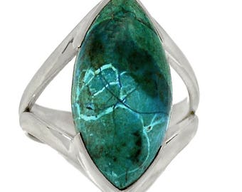 Malachite in Chrysocolla Marquise Size 8 Silver Ring for Artistic, Creative Types.  Unusual combination!