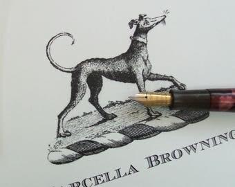 Personalized Italian Greyhound,Whippet, Monogrammed Note Cards Stationery, Monogram Set 10 Sighthound, Iggy, IG, Vintage Inspired Notecards