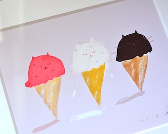 Cat Painting- Kitty Cones - Summer Art - Art for the Kitchen - Ice Cream Art