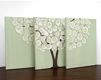 ON SALE Canvas Art Acrylic Painting - Tree Original Triptych Green - Medium 35x14