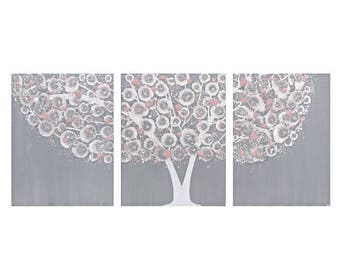 ON SALE Painting on Canvas - Gray and Pink Nursery Wall Art Tree Triptych - Select a Size